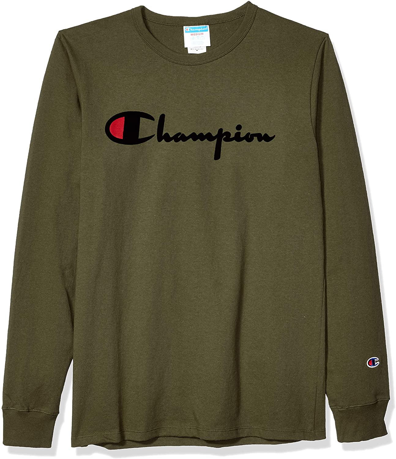 Champion LIFE Mens Heritage Long Sleeve Tee-Direct Flock Script