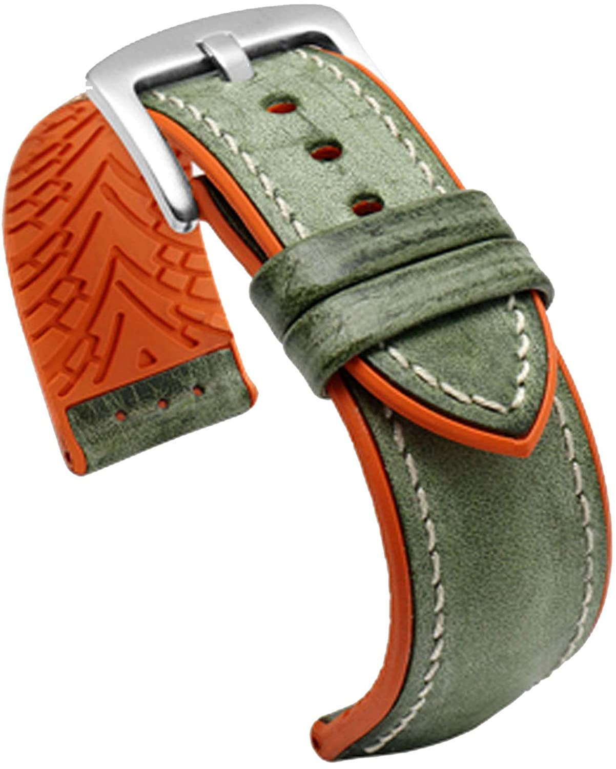 TIME4BEST Strap 19mm 20mm 21mm 22mm 23mm 24mm Distressed Green Leather Watch Band Strap Orange Rubber Pad Watch Band