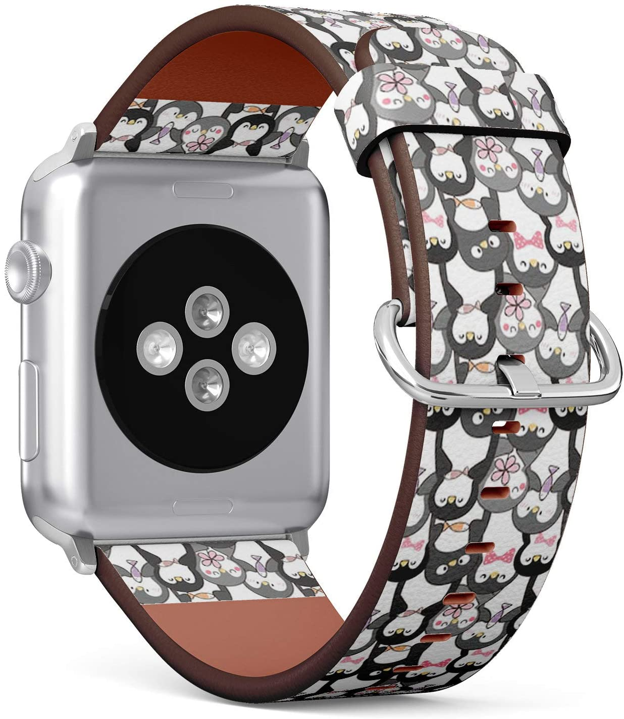 Compatible with Small Apple Watch 38mm & 40mm (Series 5, 4, 3, 2, 1) Leather Watch Wrist Band Strap Bracelet with Stainless Steel Clasp and Adapters (Cute Cartoon Penguin)