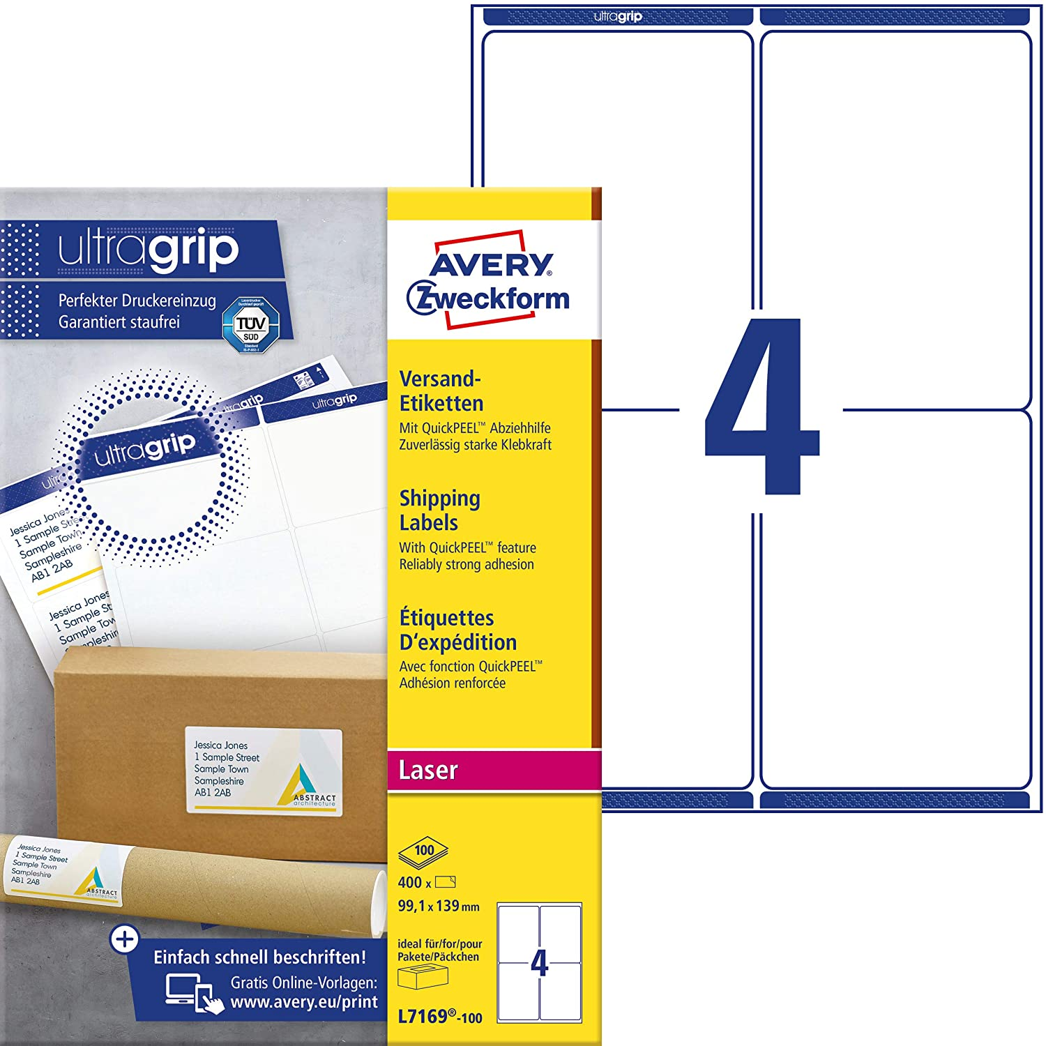 Avery Zweckform Address and Shipping Labels for Laser Printers weiß (blickdicht)