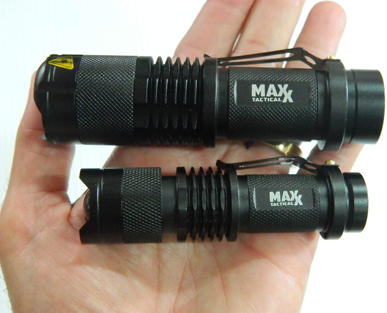 MINI MAXX 500 and MINI MAXX 300 TACTICAL LED FLASHLIGHT Pair, SUPER COMPACT, ULTRA BRIGHT, 5 MODES, CAMPING, HIKING