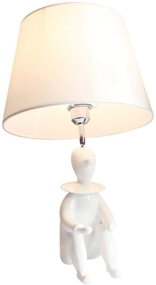 RuiXia Elegant LED Creative Children's Room Resin Clown Model Table Lamp Living Room Bedroom Lamp Bedside Table Lamp Black White Well-Made (Color : White)