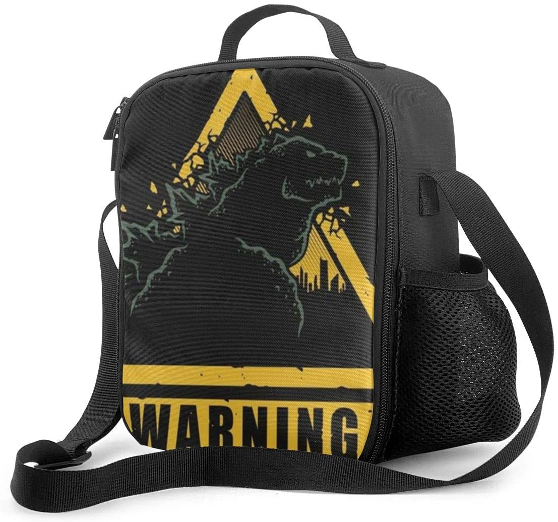 Godzilla Lunch Bag Insulated Lunch Box Wide-Open