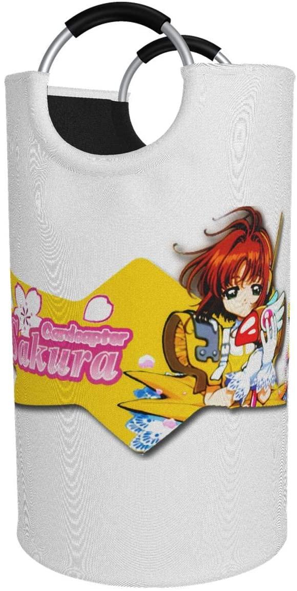 Chenjiaj Cardcaptor Sakura Anime Cartoon 82lcollapsible Fabrichamper Tall Foldable Dirty Laundry Bag Handles Waterproof Portable Washing Bathroom Large Laundry Basket