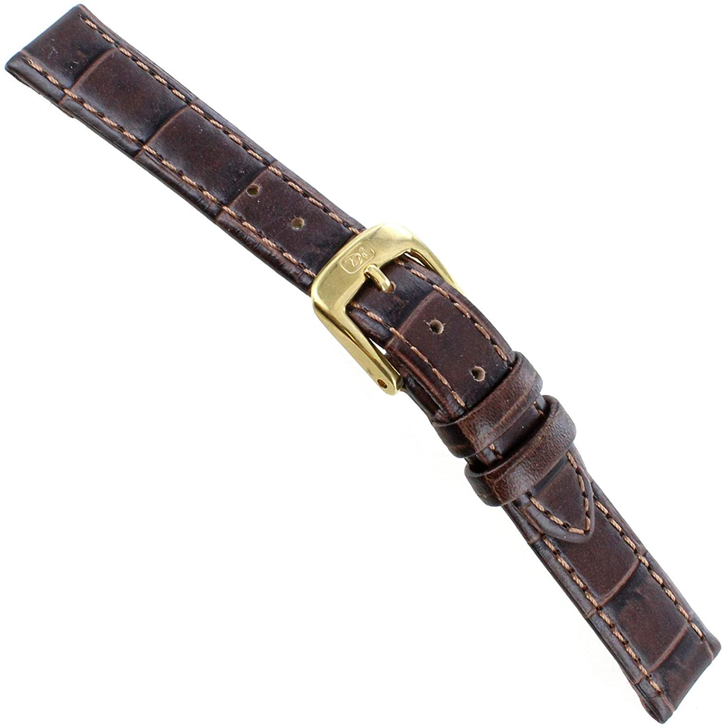 12mm Di Modell Brown Bali Louisiana Alligator Pattern On Calfskin Watch Band XS