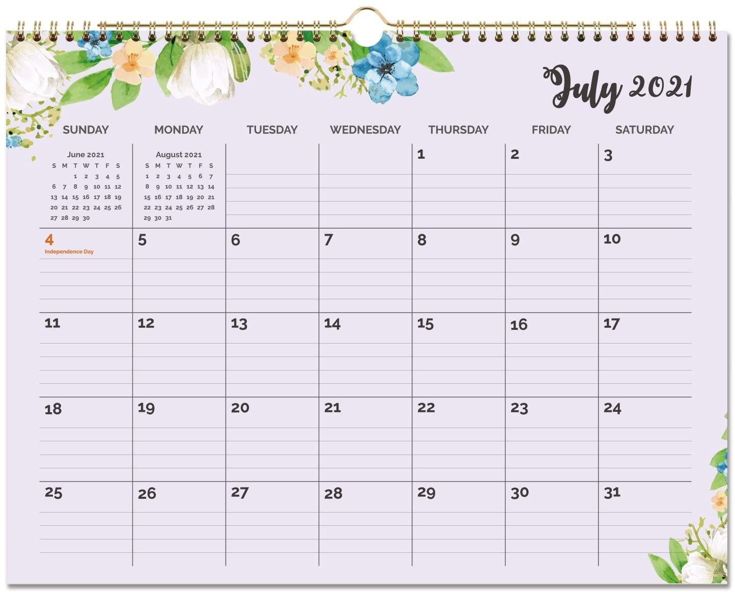 2020-2021 Calendar - 18 Months Floral Wall Calendar, Jan 2020-Jun 2021, 15