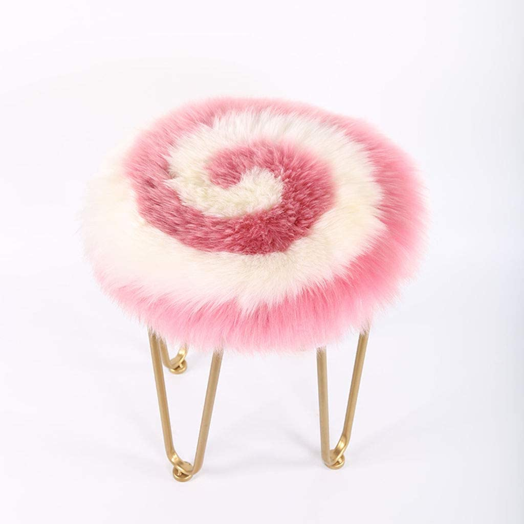 JYTT Round-Shaped Wool Leather Seat Pad, Soft Fluffy Plush Chair Seat Pads Universal Fit for Home Office Restaurant Chair No Odor/Durable -A-Diameter:45Cm