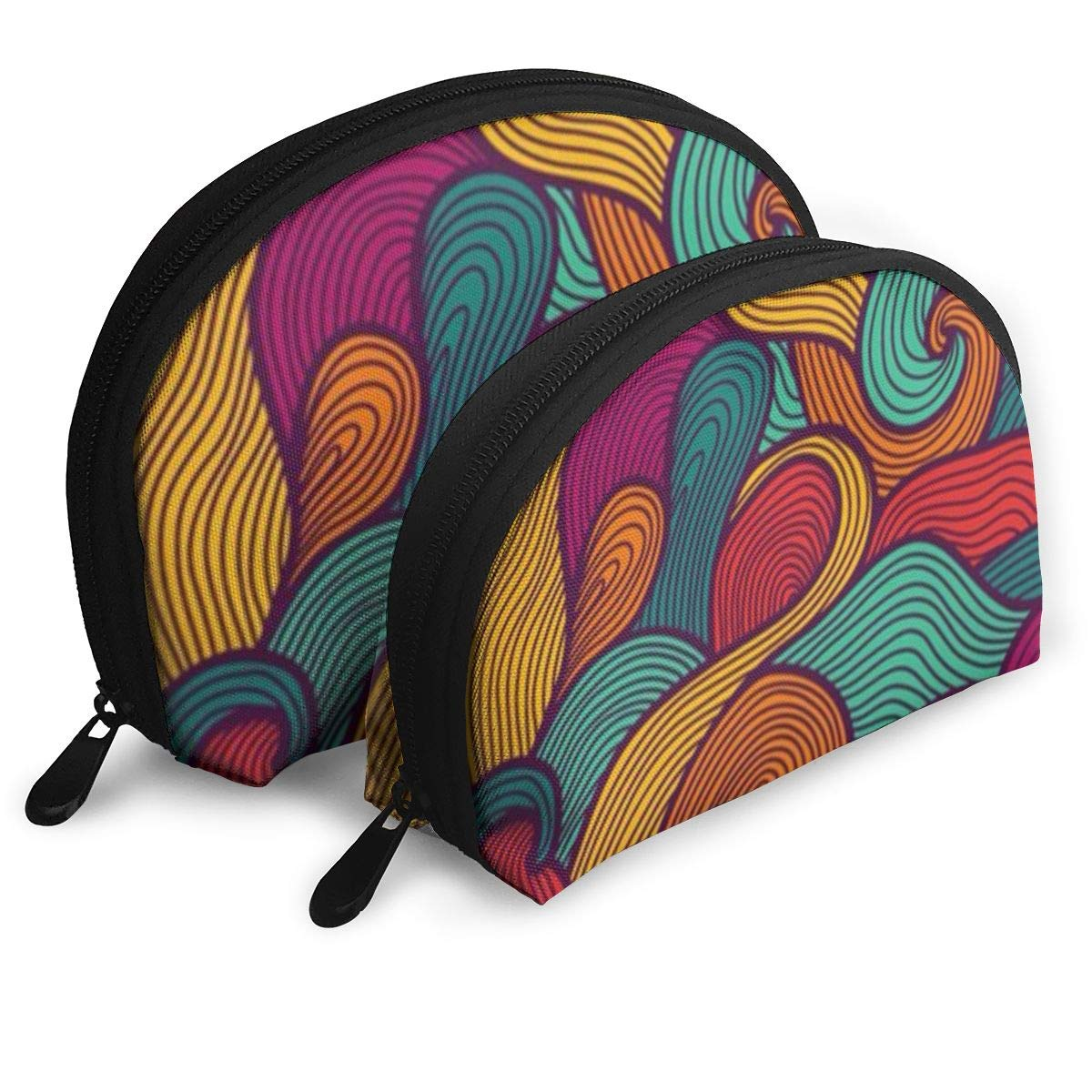 Half Moon Cosmetic Beauty Bag,Hipster Colorful Patterned Handy Cosmetic Pouch Clutch Makeup Bag For Women Girls