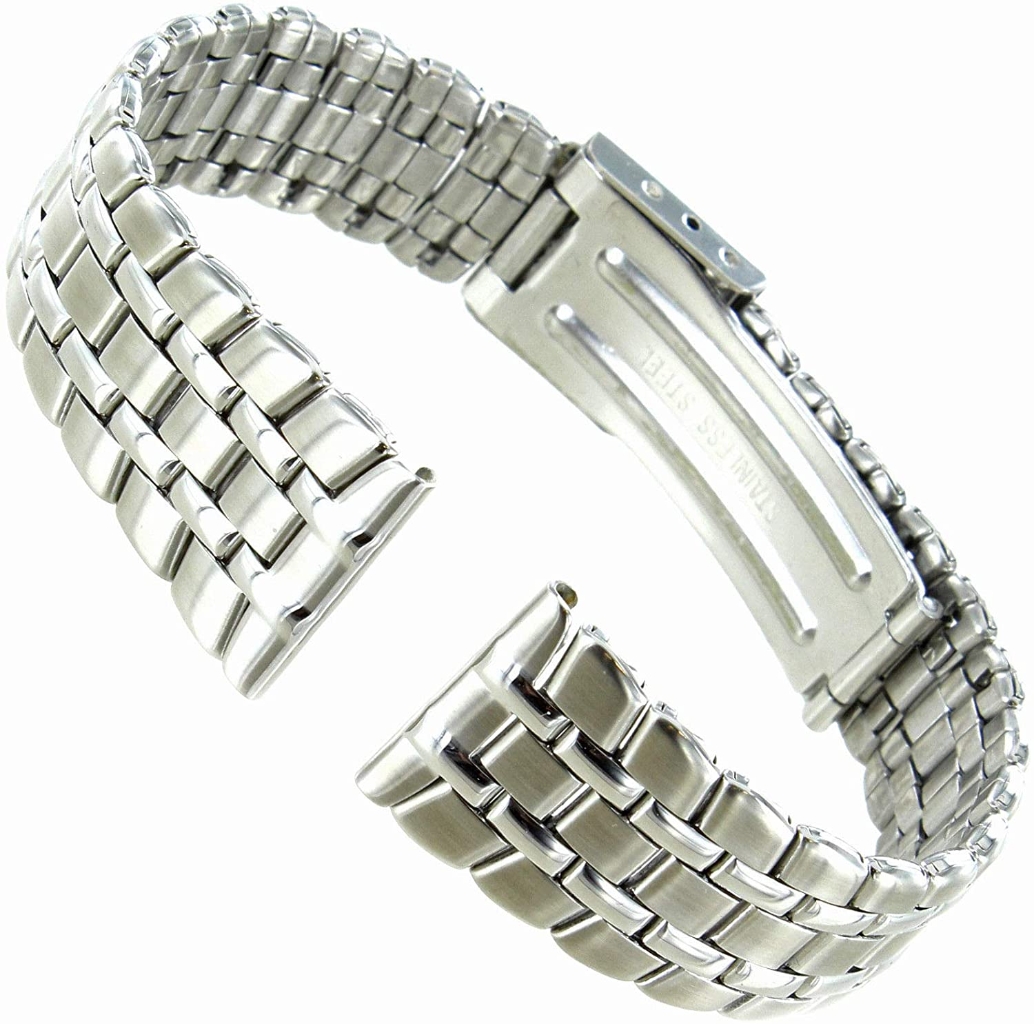 16mm Morellato Stainless Steel Silver Deployment Clasp Straight End Watch Band