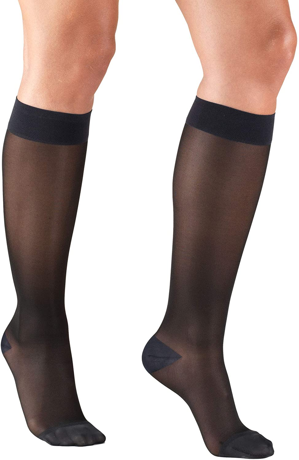 Truform Sheer Compression Stockings, 15-20 mmHg, Women's Knee high Length, 20 Denier, Charcoal, Large