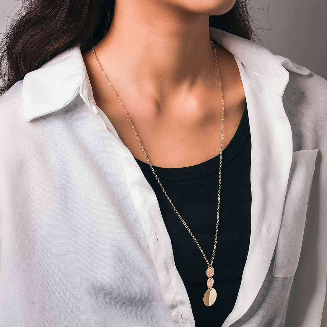 Bomine Simple Long Necklace Chain Circle Pendant Necklaces Disc Jewelry Chains Gold for Women and Girls (Gold)