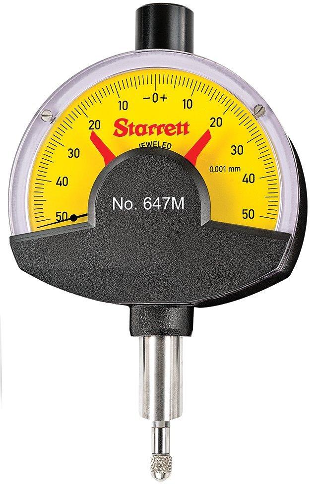 Starrett 647M Dial Comparator Indicator, 0.1 mm Range, 0.001 mm Graduation, 50-0-50 Dial Reading