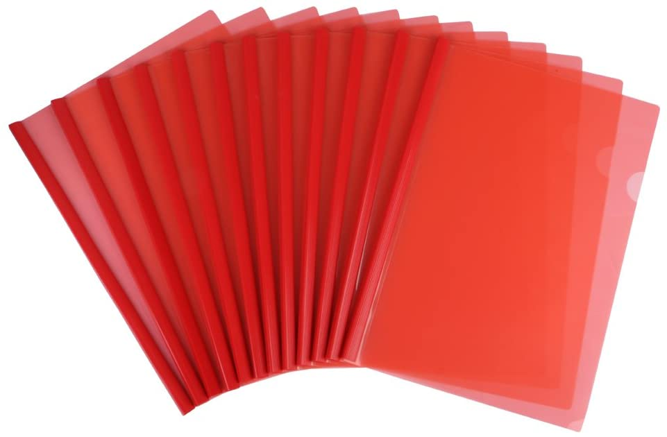 Eagle Sliding Bar File Folders, Report Covers, Plastic, A4 Size,12 Counts, Red