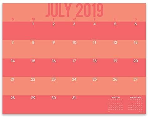 July 2019 - June 2020 Color Stripes Large Desk Pad Monthly Calendar