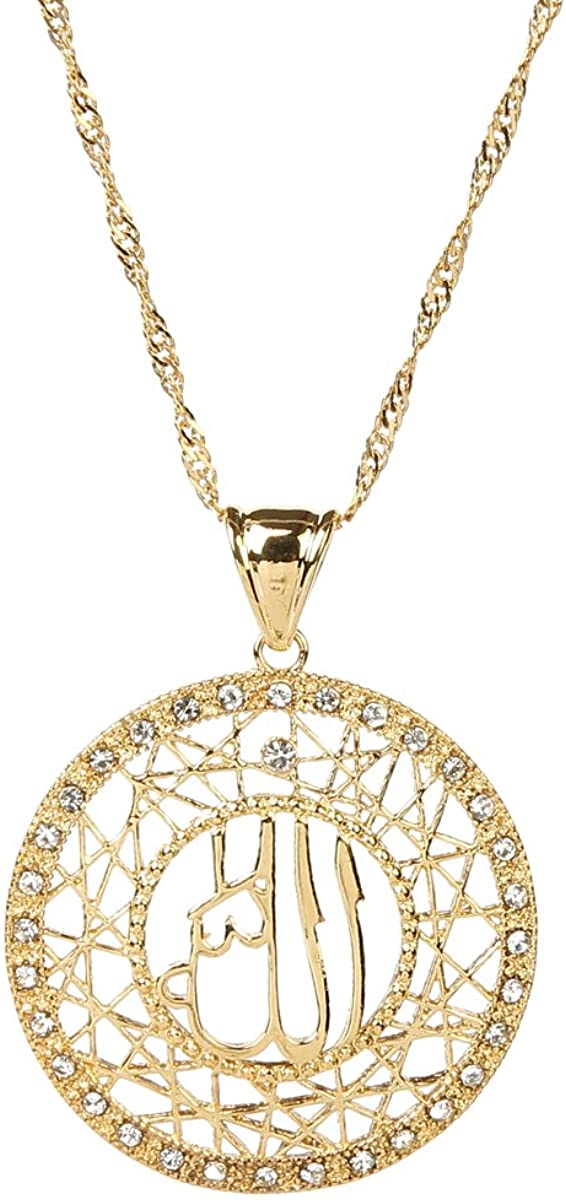 24k Gold Muslims Allah Pendant Necklace Charm Arabic Islamic Rhinestone Jewelry