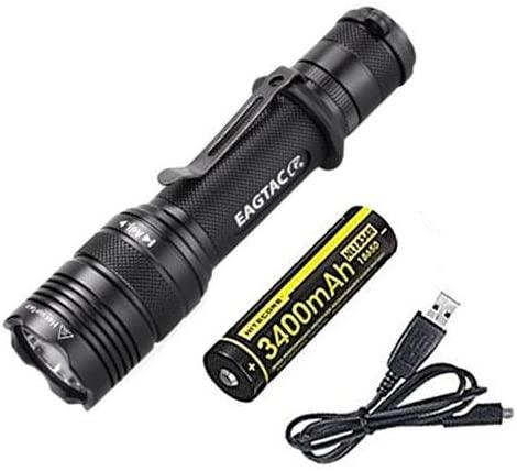 Combo: Eagletac T200C2 XM-L2 LED Flashlight - 1116 Lumens w/NL1834R USB Rechargeable Battery +Free Eco-Sensa USB Cord