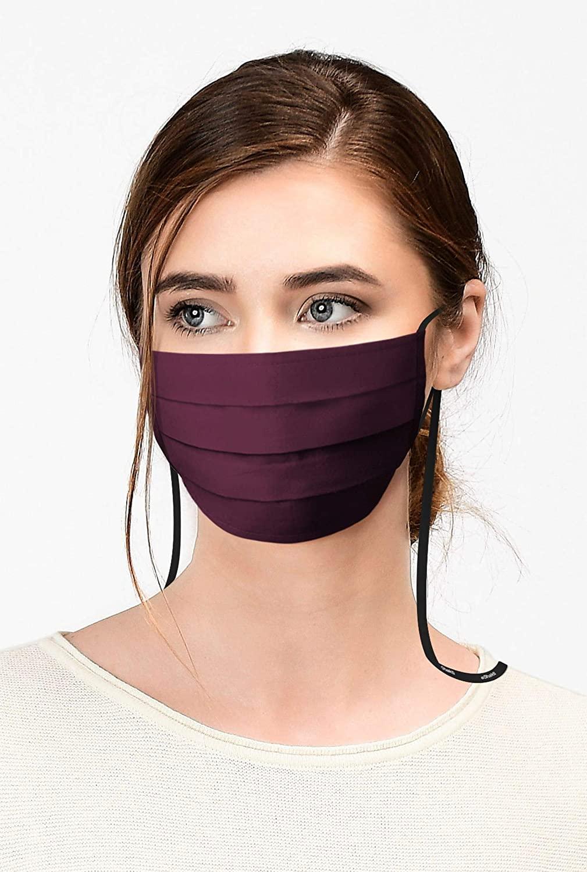 eShakti Womens Cotton Poplin Pleated Face Mask