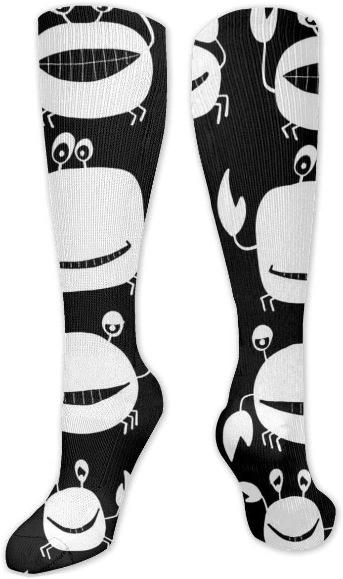 Compression Sock for Women & Men,Funny Friends Crabs CasualLongKneeHighTubeSocksforRunnning,SoccerAthleticSports,Travel-50cm