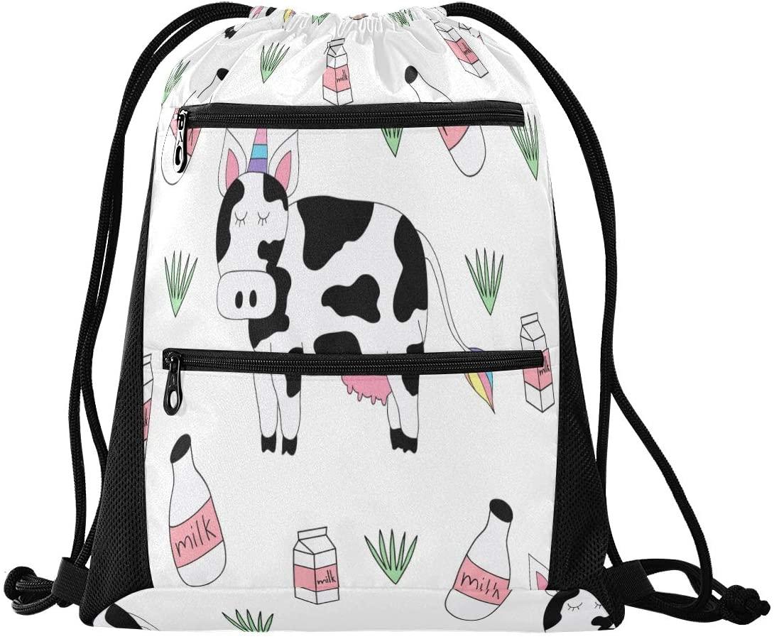 Drawstring Backpack Sport Gym Sackpack - Cute Unicorn Cow Drawstring Bag with Zipper Pocket Drawstring Bag Sport Backpack for Hiking Dance