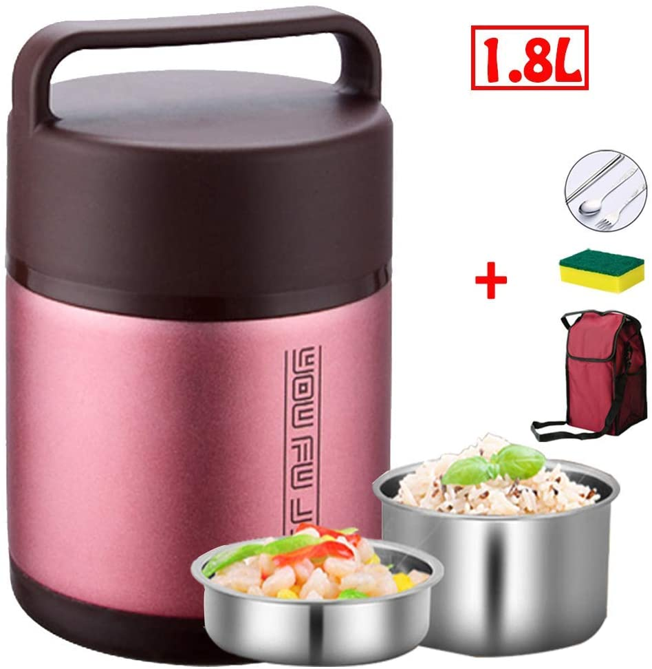 Food Flask,Food Container with 2 Compartment, Stackable Lunch Box Stainless Steel Leakproof Lunch Bento Box with Folding Spoon, Storage Bag and Sponge Brush