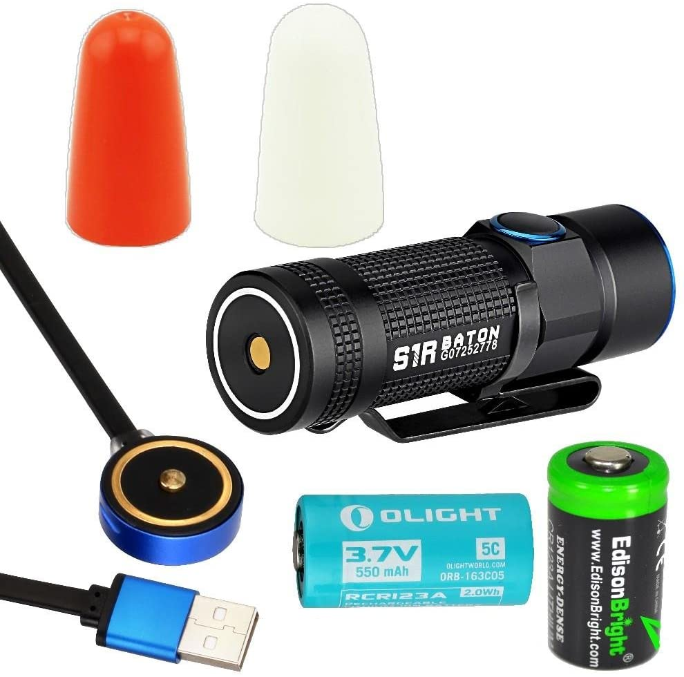 Olight S1R 900 Lumen USB rechargeable CREE LED Flashlight, Rechargeable battery, Olight traffic wands (White/Orange) with EdisonBright CR123A Lithium Battery