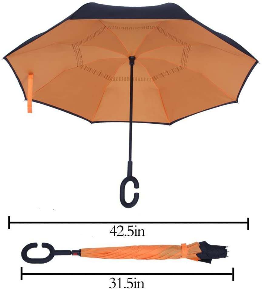 Reverse Folding Windproof & Water Repellent Umbrella with C-Shaped Handle Perfect for Car & Outdoors UV Protection Double Layer Inverted Umbrella
