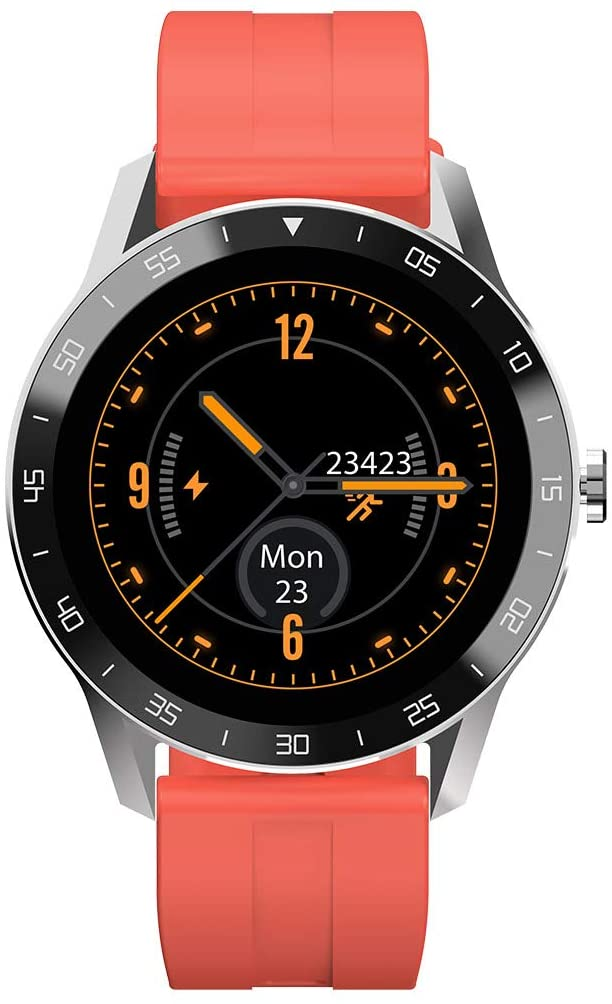 SUQIAOQIAO BV X1 1.3 Inch TFT HD Color Touch 3D Curved Glass Screen Smart Watch, 260 Mah Battery 5ATM Waterproof Multi Functions Bracelet Notification Reminder,Orange
