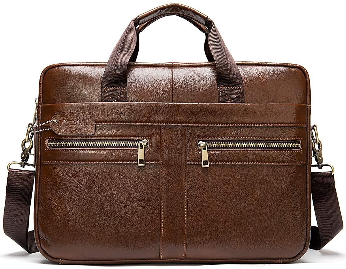 Avirishdh Men Genuine Vintage Waterproof Leather Briefcase Laptop Bag Travel Messenger Padded Best Satchel Shoulder or Crossbody Bags Colour- Coffee
