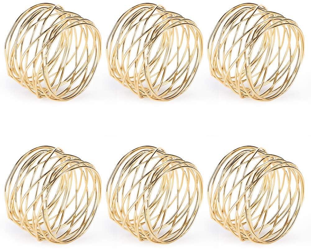 Accmor Metal Mesh Napkin Rings, Gold Napkin Rings for Dinner Party, Wedding, Birthday, Family Gatherings,6 Pack