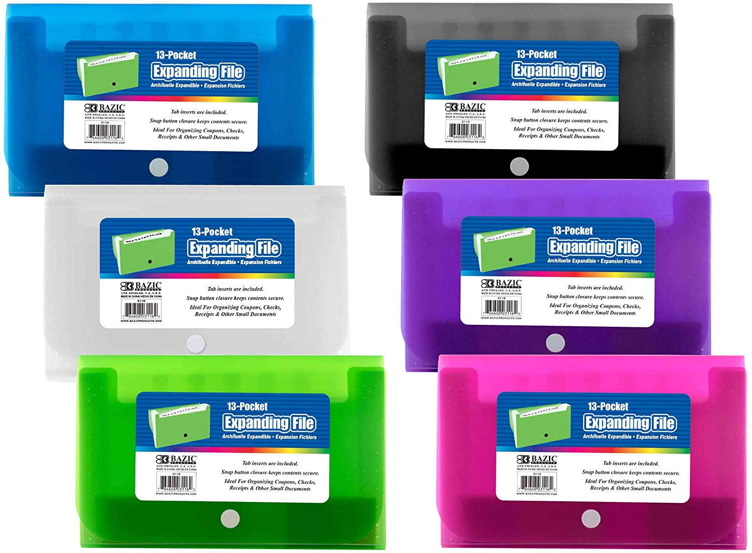 BAZIC 13-Pockets Expanding File Coupon Personal Check Size, Document Holder Files Wallet Plastic Envelope Folders, Snap Button Closure, Office Home Organize - Assorted Color, 6-Pack