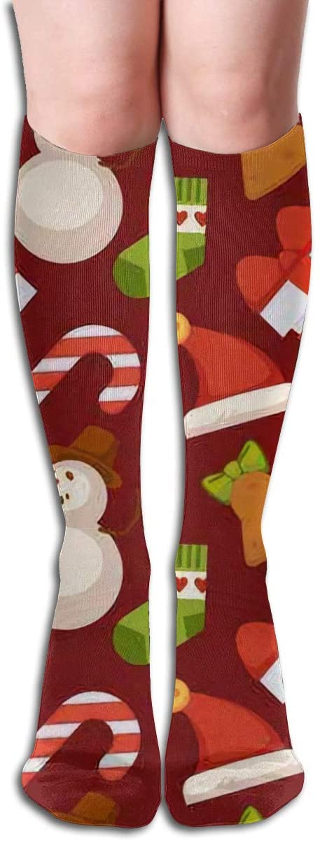 Delicious Treats and Lighted Candles,Design Elastic Blend Long Socks Compression Knee High Socks (50cm) for Sports