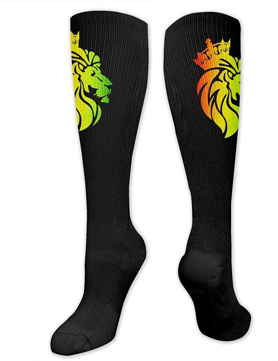 Rasta Lion Crown Athletic Socks Thigh Stockings Over Knee Leg High Socks