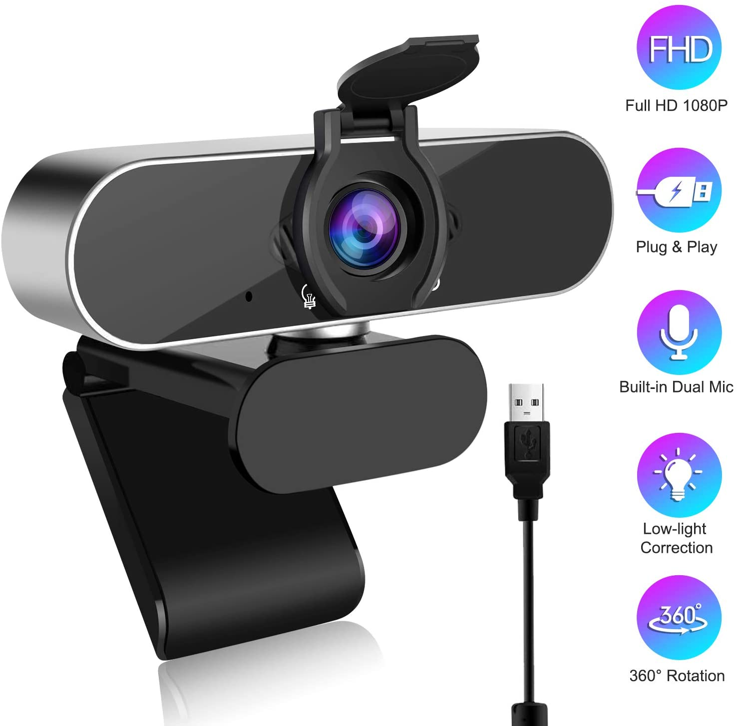 HD Webcam 1080P with Privacy Cover, Computer Webcam with Microphone Noise Reduction, USB Webcam for PC Desktop Laptop Video Calling Streaming Recording, 360 Degree Rotated Base Wide View