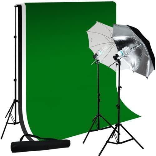 Limostudio Photo Studio 10'X12' Muslin Black White Green Chromakey Backdrop Support Kit 700W 33