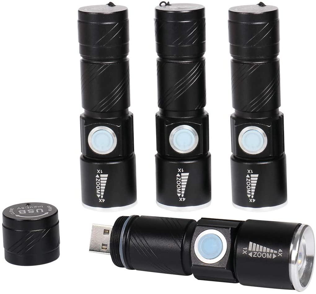 KingHe Mini Small LED Flashlight USB Rechargeable Flashlights Single 1 Mode 14500 Battery Flashlight Pack 4
