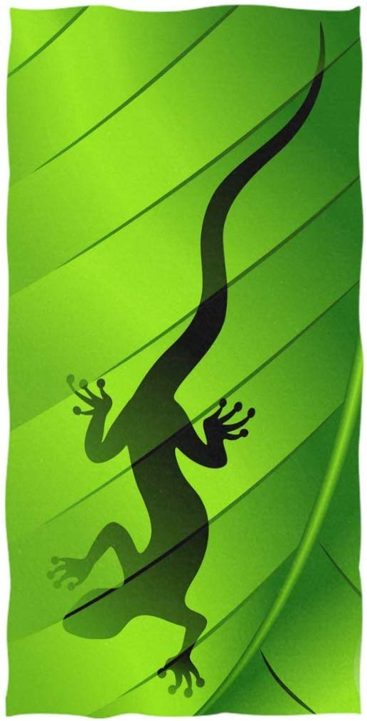 Stylish Lizard Gecko Shape on Green Leaf Print Soft Large Hand Towels for Bathroom, Hotel, Gym and Kitchen, 19.7x39.4 Inches