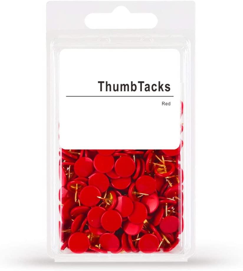 Partstock Thumb Tacks, Drawing Push Pins 300 Pieces Red Round Head Push Pin for Wall Map, Bulletin Boards, Photos, Cork Decorative Board