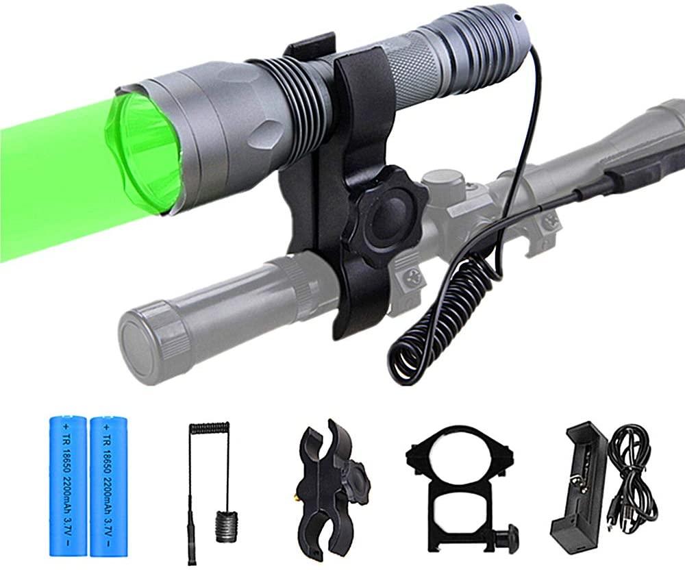 ANEKIM AC10 Tactical Flashlight Green light Torch 1200Lumen Hunting Light Night Hunting Long Range Spotlight for Bow Hog Rabbit Coyote Pig Varmint Predator