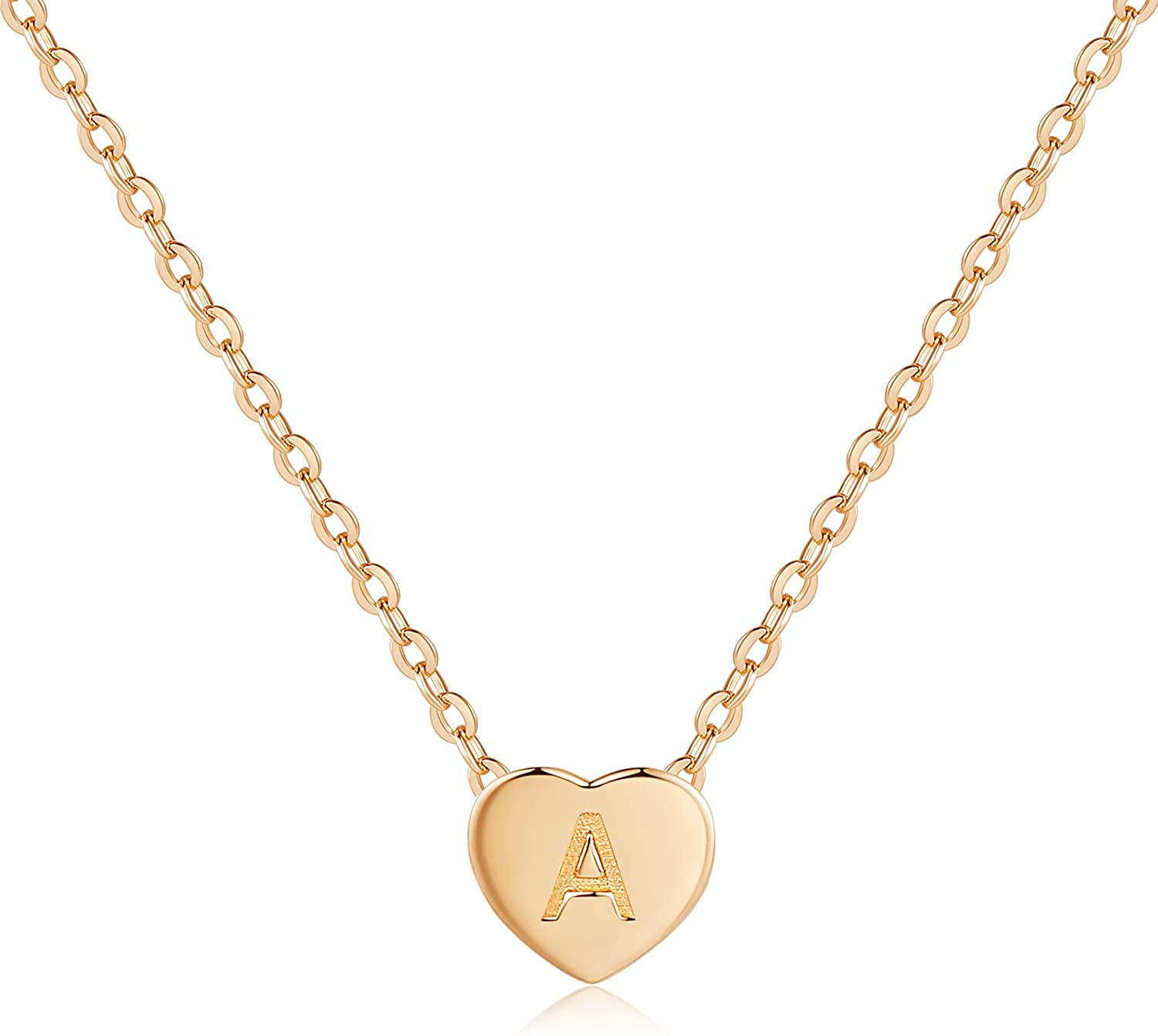 CDE Tiny Gold Initial Heart Necklace 925 Sterling Silver Pendant Rose Gold Plated Personalized Letter Heart Choker Necklace Jewelry Gift for Women