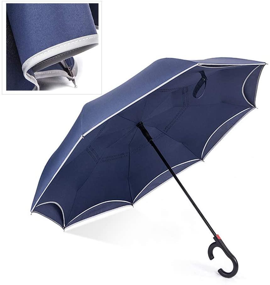 MAG.AL Double Layer Edge Reflective Strip Reverse Umbrella Double Layer C-Shaped handleLong-Handled Umbrella Self-Standing Hands-Free Business Umbrella