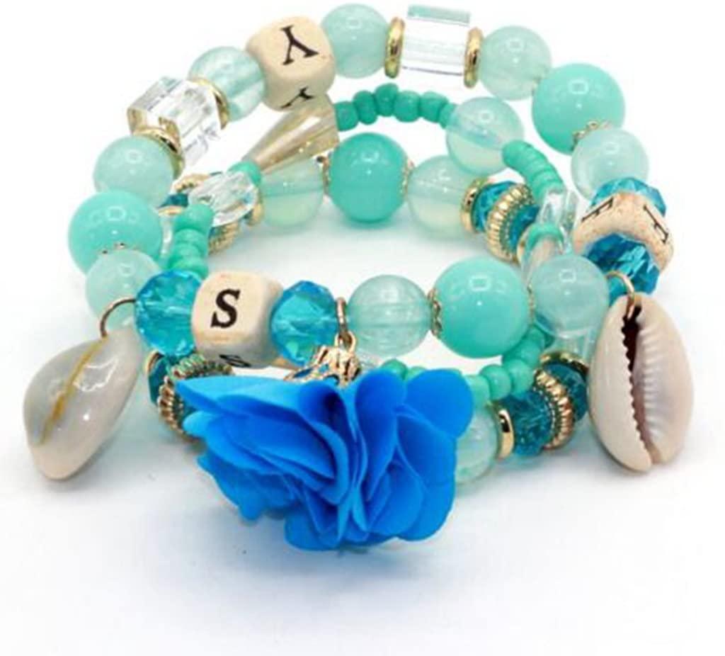 3pcs/set Multilayer Candy Crystal Beads Flower Shell Bracelets & Bangles (Blue)