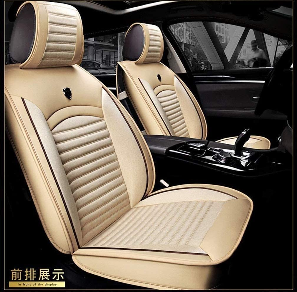XZWYB Comfortable and Breathable Fit Five Seats Car Four Seasons Use Linen & Leather Stitching Car Seat Cover