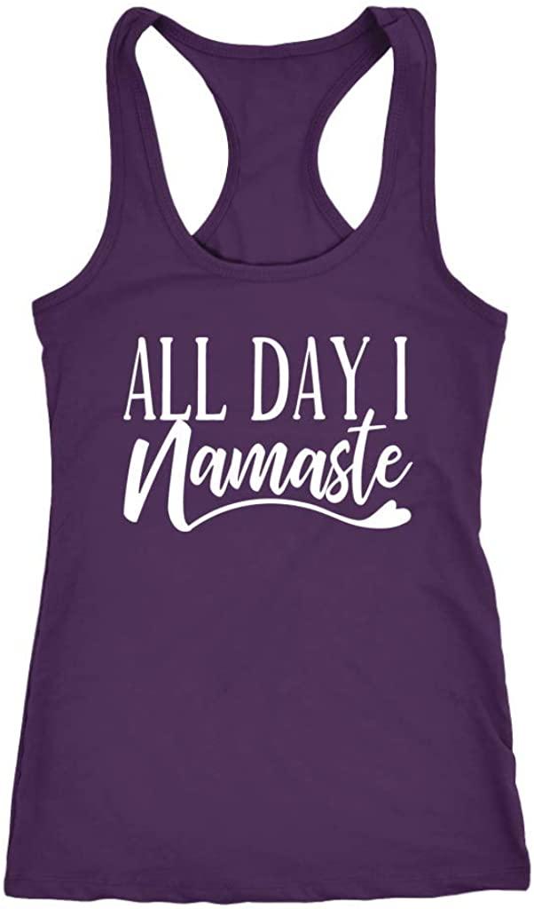 Tessa Mae Designs Funny Workout Racerback Tank Top - All Day I Namaste, Purple, XX-Large