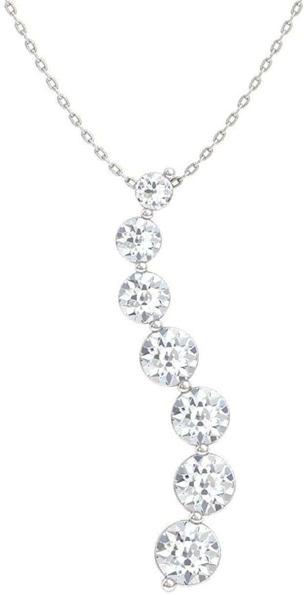 Diamondere Natural and Certified Round Diamond Journey Necklace in 14k White Gold | 0.90 Carat Pendant with Chain
