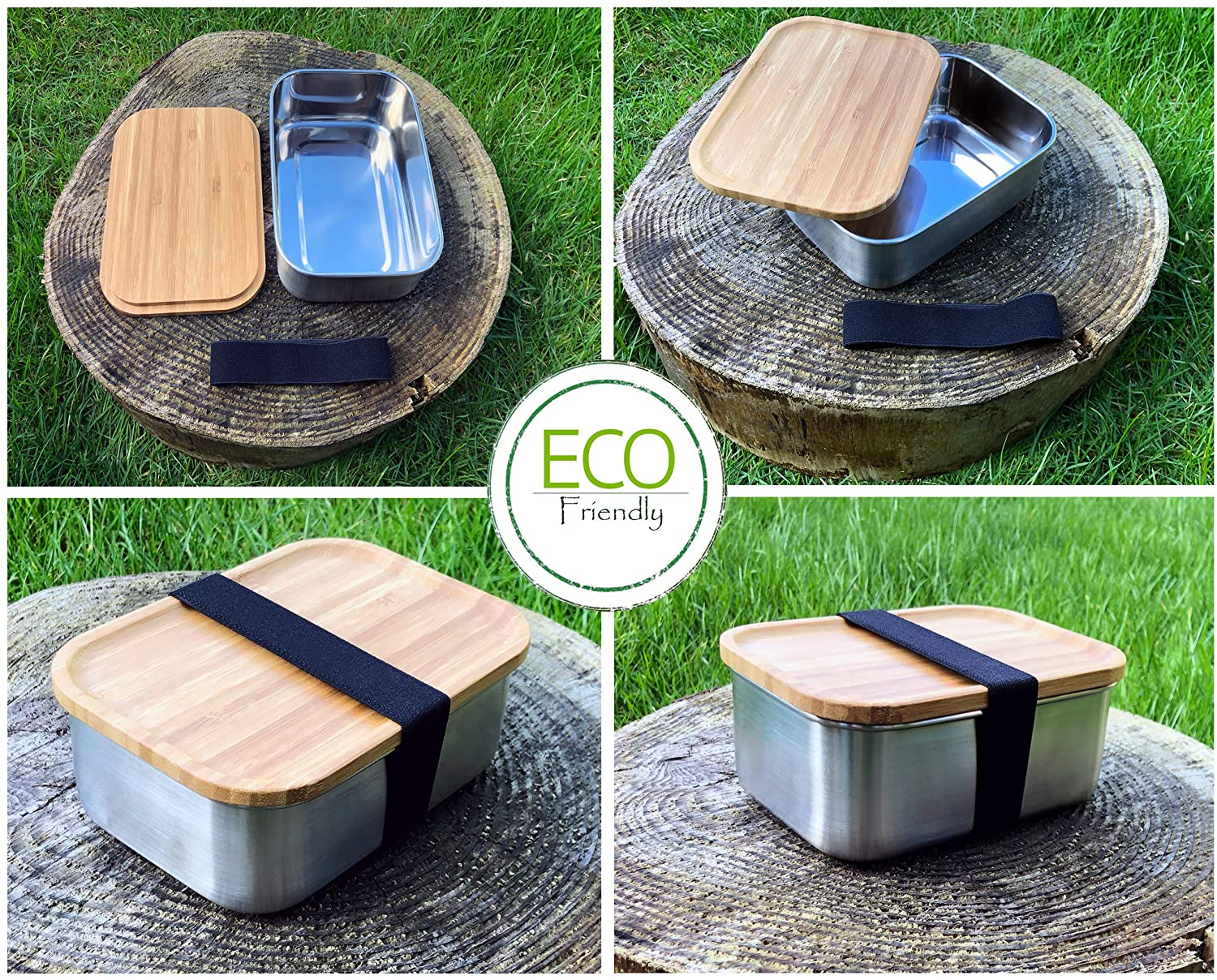 Eco Friendly Stainless Steel Lunch Box Survival Camping Tin with Bamboo Wood Lid