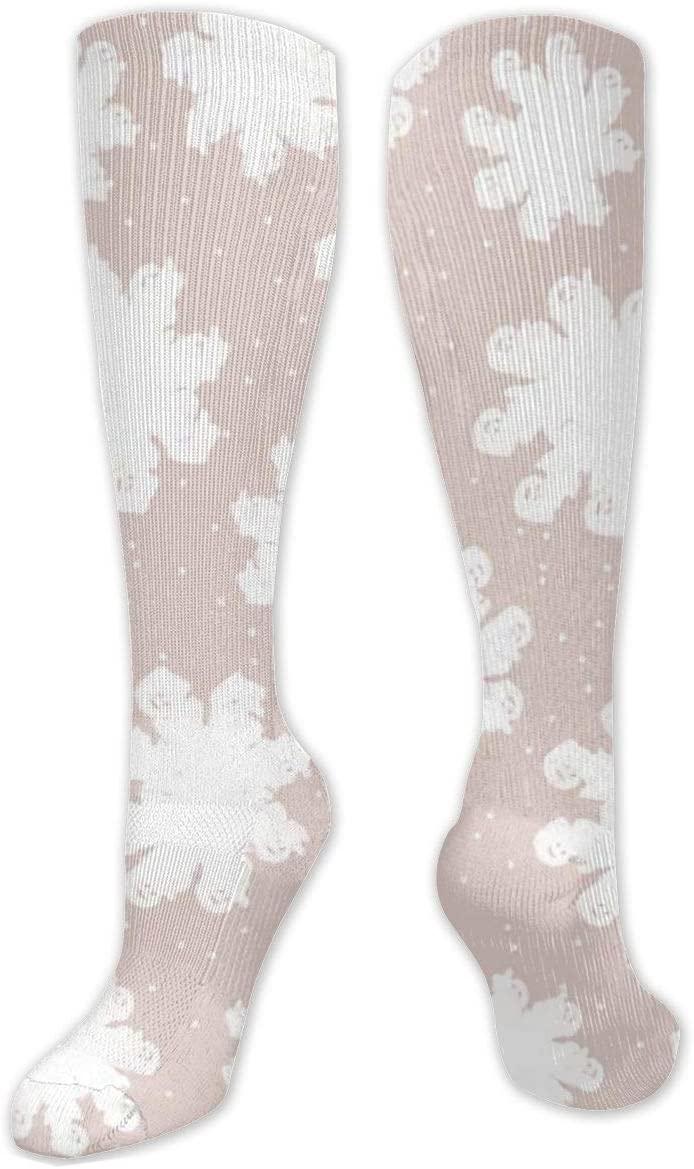 Compression Sock for Women & Men,This is A Winter Snowflakes.Christmas CasualLongKneeHighTubeSocksforRunnning,SoccerAthleticSports,Travel-50cm
