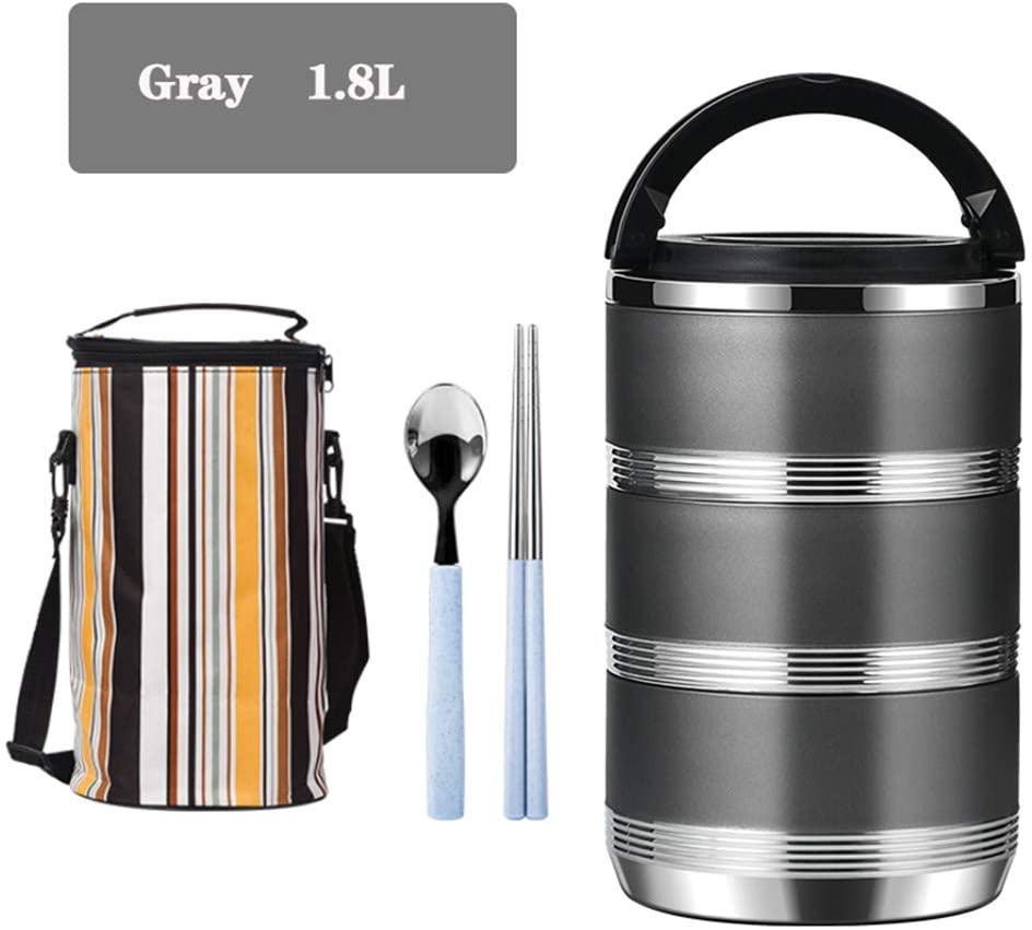 Lunch Box with Tableware and Insulation Bags,Stainless Steel Lunch Storage Containers for Student lady Men,Black,1.8L