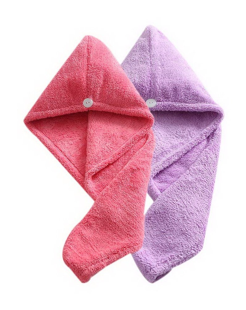 Women's Soft Shower Hair Drying Towel Fast Drying Hair Towel Red + Purple 4 Pack