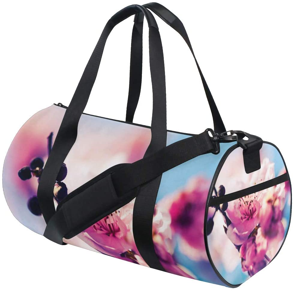 Brighter Cherry Blossom Fitness Sports Bags Gym Bag Travel Duffel Bag for Mens and Womens