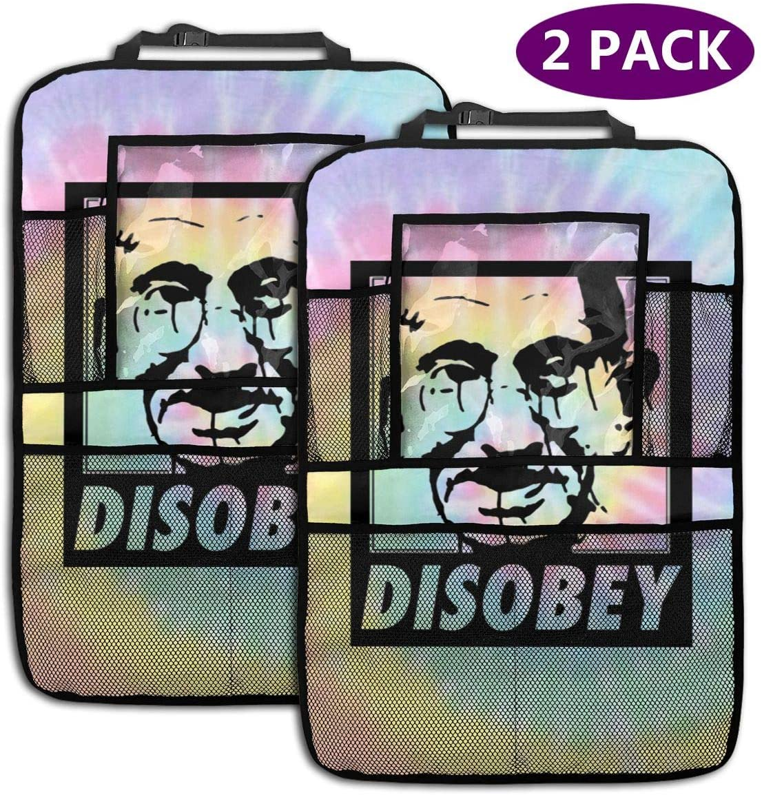 Backseat Car Organizer Disobey Gandhi Revolution Power to The People Seamless Vector Background 2 Pack Car Seat Organizer Waterproof Durable Multi Pocket Back Seat Storage Bag Travel Accessories